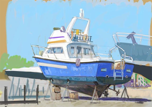 digital sketch of blue boat on stilts at marina