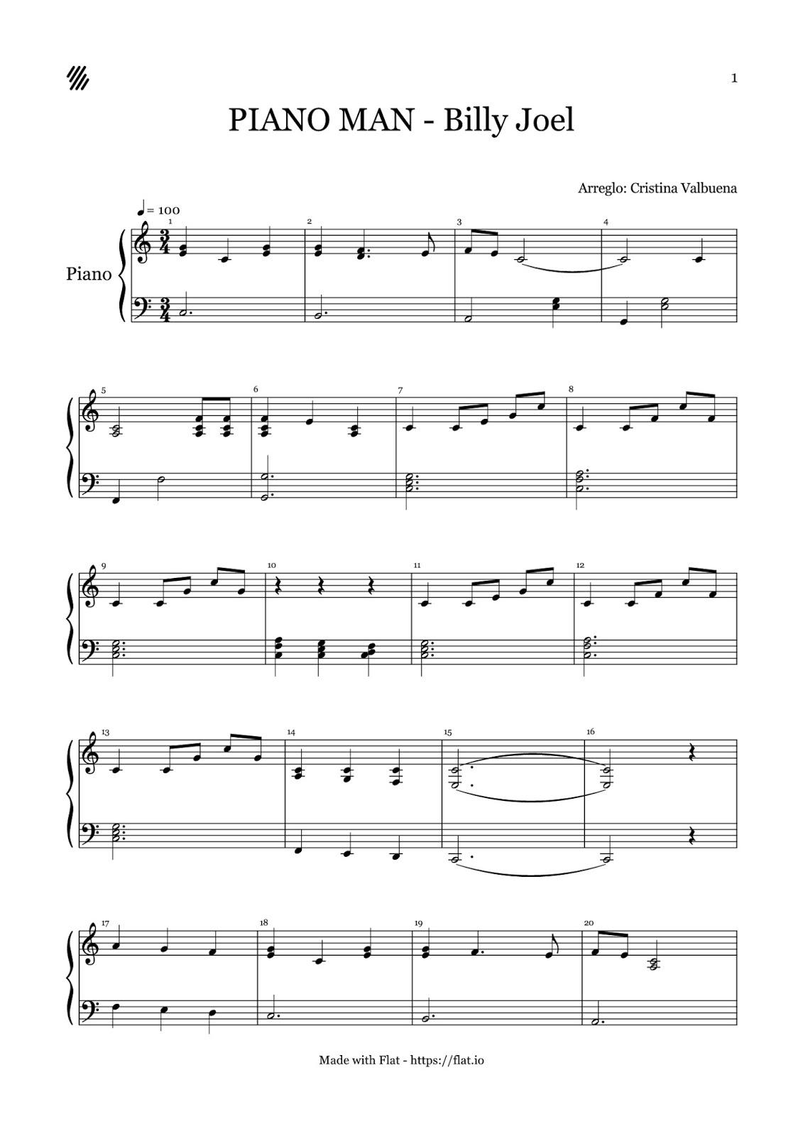 Partitura f cil piano man billy joel for 1 5 piani casa piani