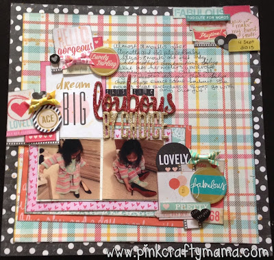 scrapbook layout shimelle laine glitter girl episode 101 123 scrapbooking my mind's eye dear lizzy embellishment clusters