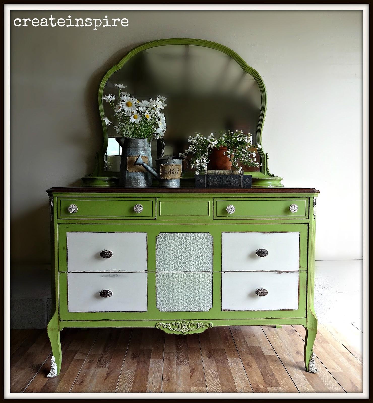createinspire Antique Dresser with Mirror