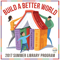 "Text ""Build a better world 2017 Summer Library Program"" around a house being made by a man, woman and child out of large purple, red, yellow and green books."