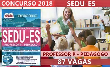 Concurso SEDU-ES 2018 Professor P - Pedagogo