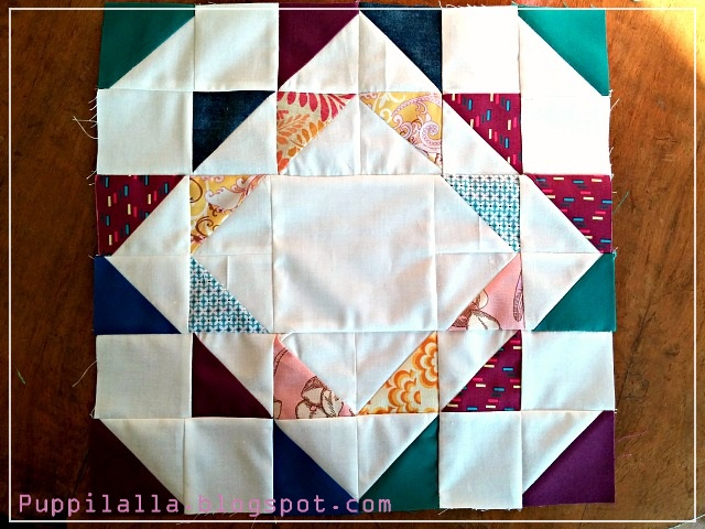 Puppilalla, Ripples Block, Patchwork Block, The Bee Hive, Quilting Bee, Bee Block, free pattern