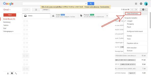 cara merubah tampilan gmail