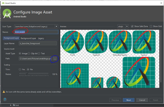 Mengganti icon project dengan image asset
