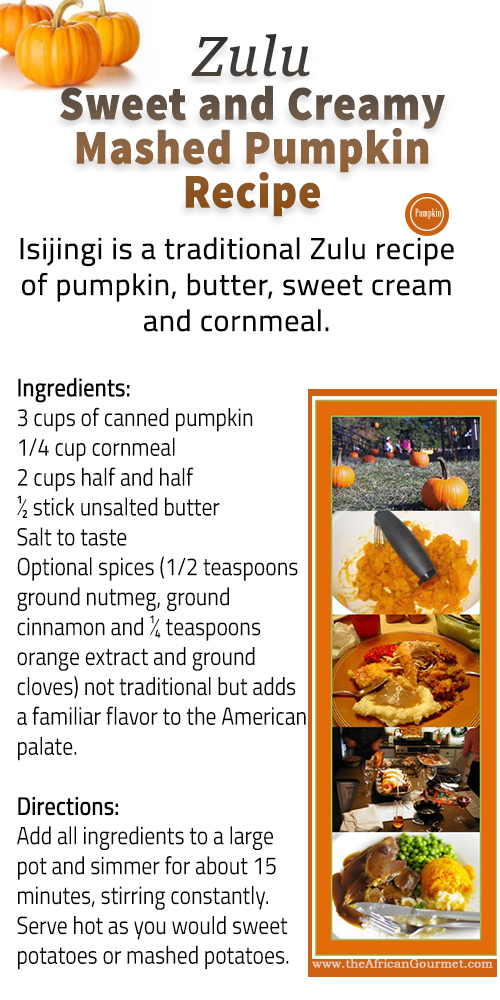 Zulu African Sweet and Creamy Mashed Pumpkin Easy Recipe
