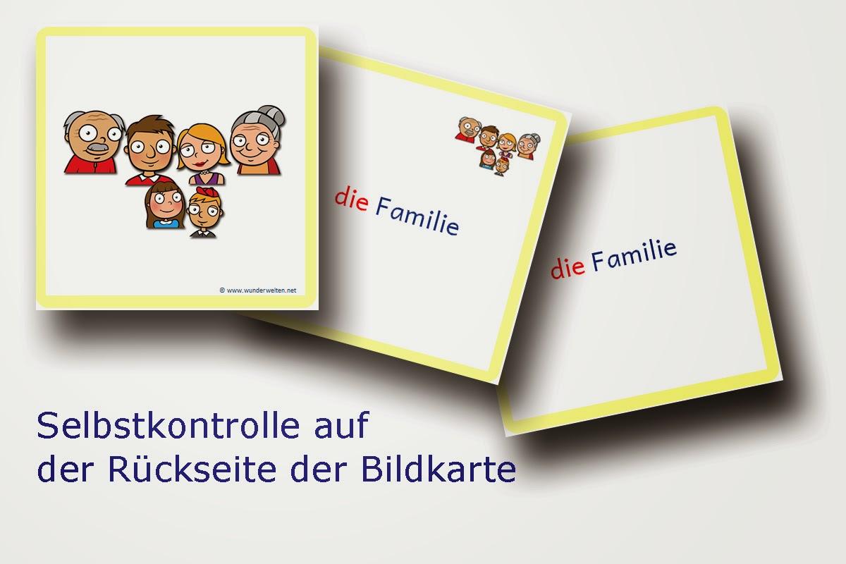 DaZ Material Familie - Bild-Wort-Karten zur Sprachförderung in der Grundschule kostenlos