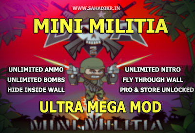 Mini Militia 2.2.61 ULTRA MOD Pro+Unlimited Nitro ,ammo, bombs , No reload and Fly through walls