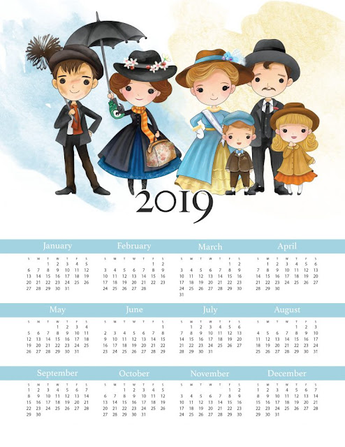 Mary Poppins: 2019 Free Printable Calendar.