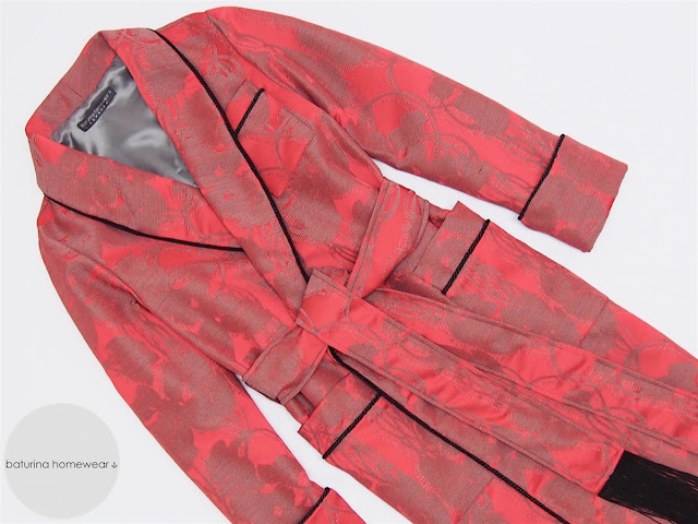 mens luxury dressing gown long warm red black cotton silk paisley robe full length gentleman classic english style