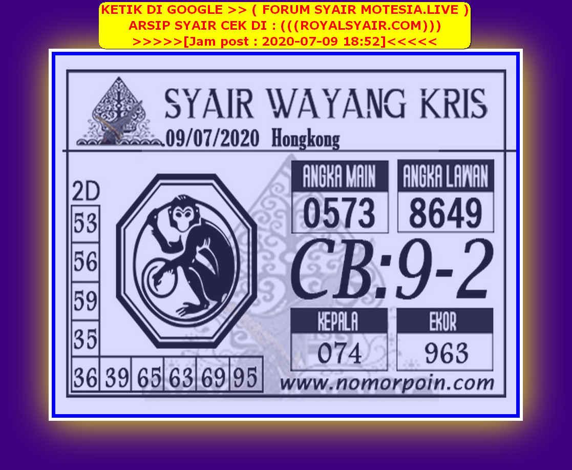 Kode syair Hongkong Kamis 9 Juli 2020 154