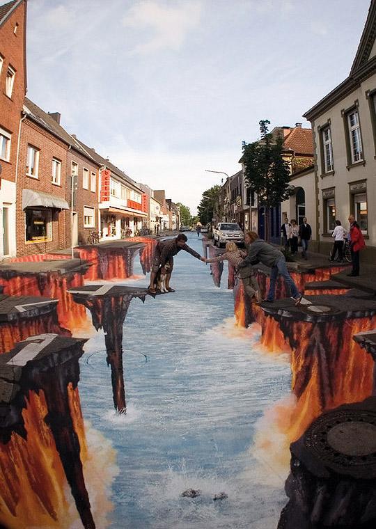 Çökmüş bir sokaktaki yer altı nehrini ve akan lavları gösteren kaldırım sanatı resmi