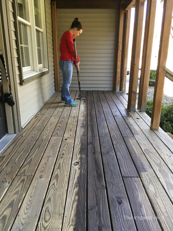 Using the HomeRight Stain Stick to update an old front porch