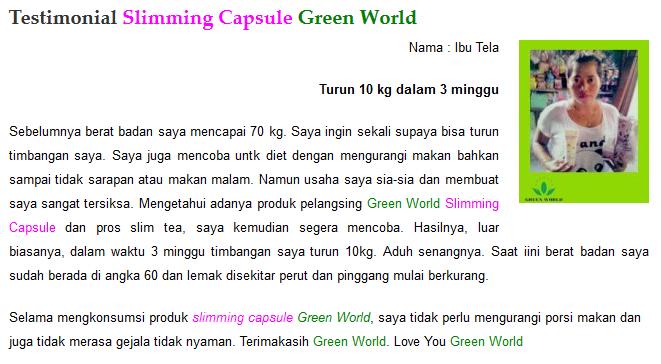 Bukti Nyata Khasiat Slimming Capsule GREEN WORLD Terlaris