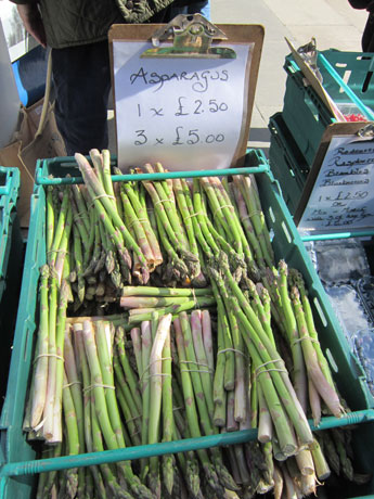 Basket of asparagus.