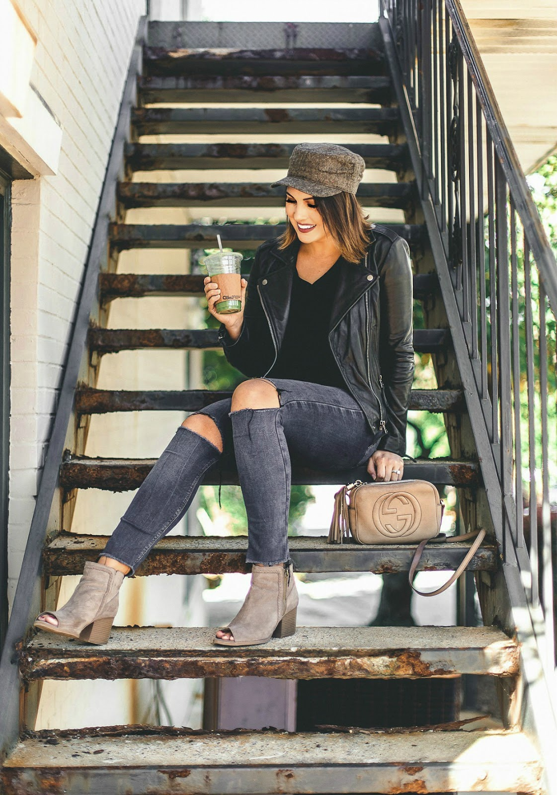 lucky brand major moto, baker boy hat, life and messy hair, fall fashion, xo samantha brooke