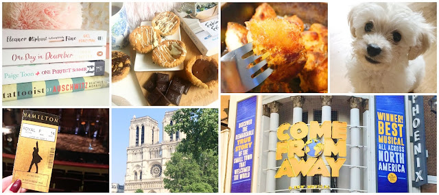collage - stacks of book, come from away at the phoenix theatre, Notre Dame Paris, Hamilton West End, homemade cookie dough buns, homemade roast potatoes