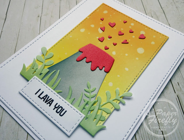 Punny love card using MFT Volcano and I Lava You sentiment stamps