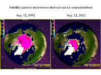 "Satellite derived sea ice decline 1992-2012 (Credit: ""A gridded database of Arctic sea ice extending back to the 1800s"") Click to Enlarge."