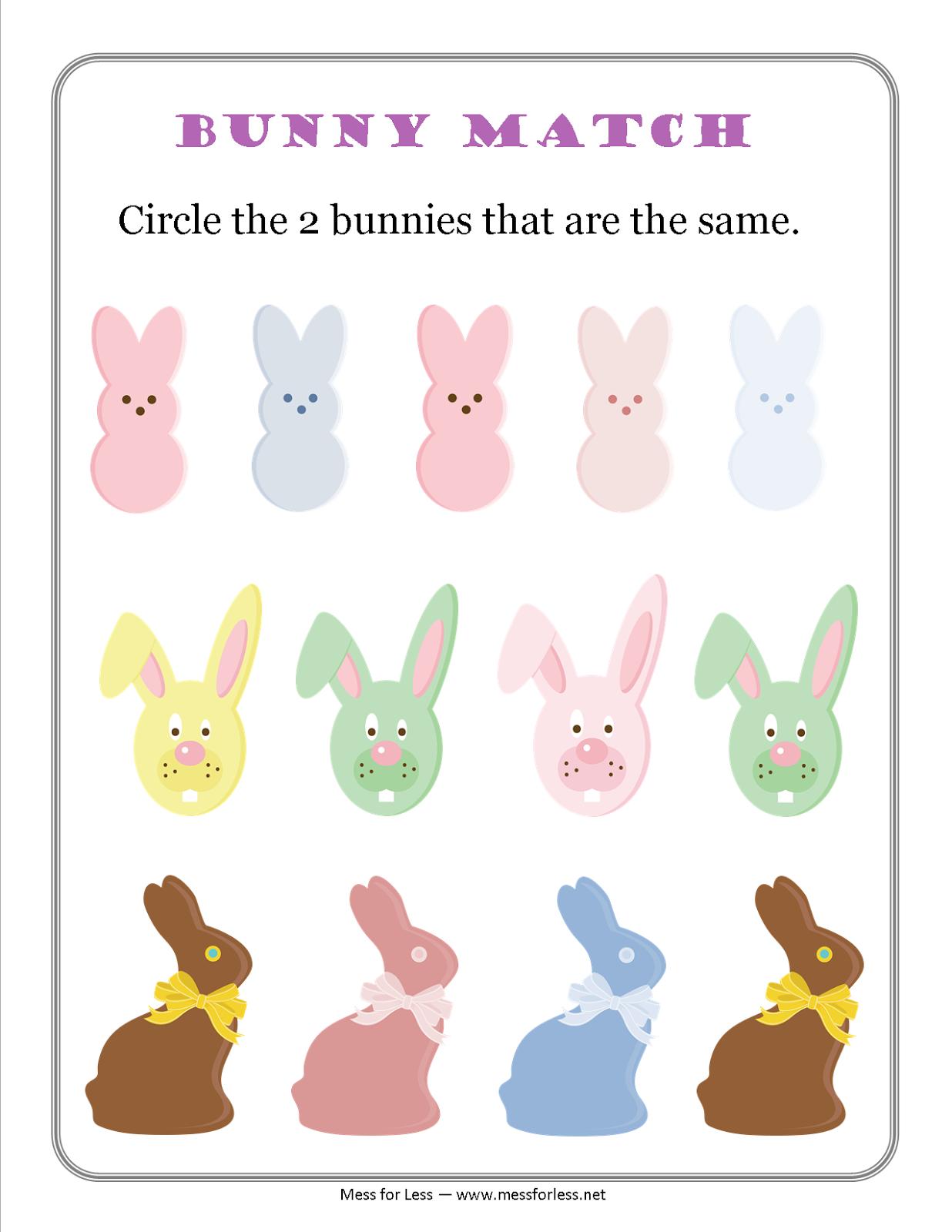 Free Easter Preschool Worksheets