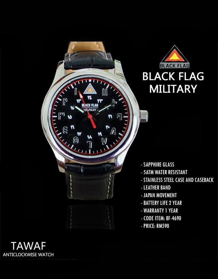 jam tawaf black flag, Sapphire glass 5atm water resistant Stainless steel case and caseback Leather band Japan movement Battery life 2 year Warranty 1 year