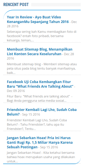 Membuat Widget Recent Posts Blog