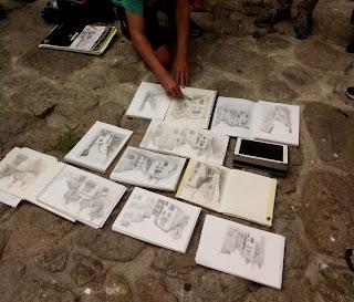 Dessins des participants à l'atelier d'Eduardo Bajzek