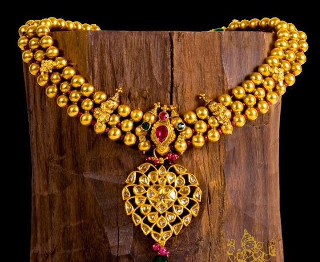 Beaded gold antique necklace jewellery designs beaded gold antique necklace aloadofball Gallery