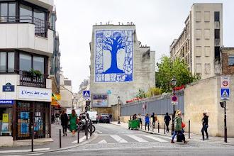 Paris : L'arbre bleu ou L'arbre des rues, une fresque de Pierre Alechinsky, un poème d'Yves Bonnefoy - Vème