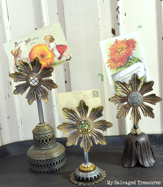repurposed vintage lamp parts jeweled magnetic picture holders
