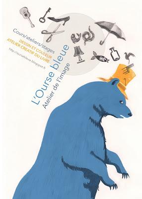 Affiche ourse bleue atelier Stéphanie Augusseau