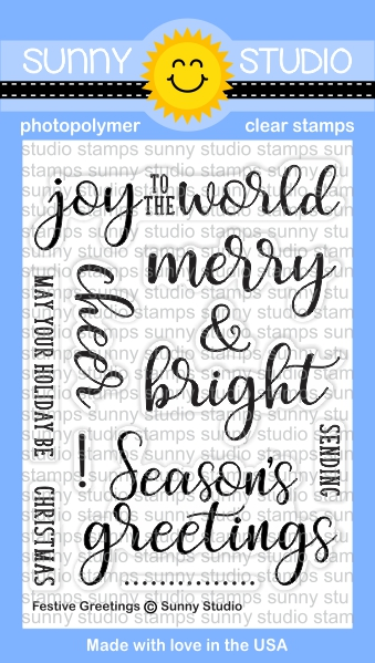 Sunny Studio Stamps Festive Greetings Stamp Set
