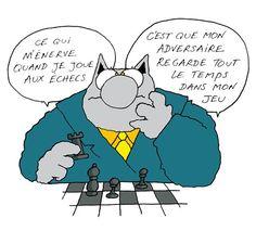 Le chat de Geluck jouent aux échecs