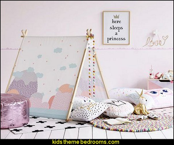Girls Teepee Summer Mountains  girls bedrooms - girls theme bedroom decorating ideas - girl preteen bedroom ideas - girls bedroom ideas - teens bedroom design ideas - girls bedroom furniture - decorating teens theme bedrooms - girls bedding - girls bedroom decorations - bedrooms decorating for girls