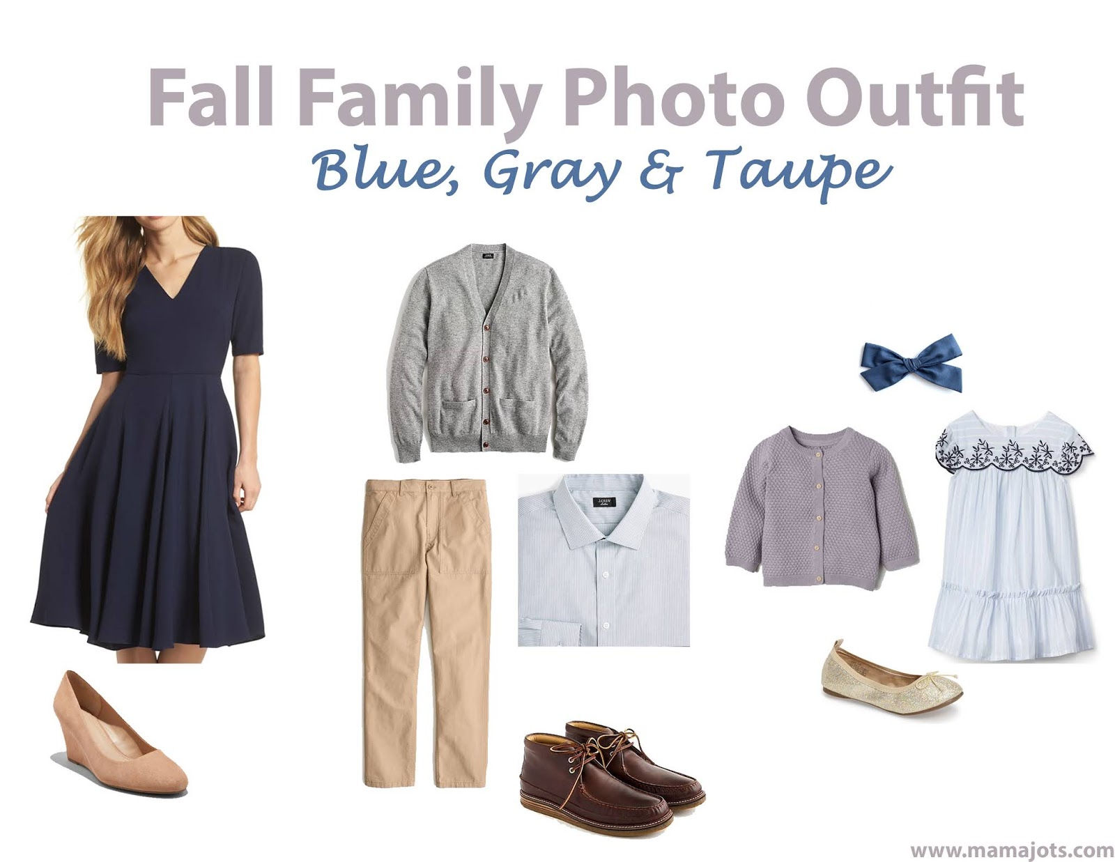 fall family photo outfit ideas blue, gray, brown