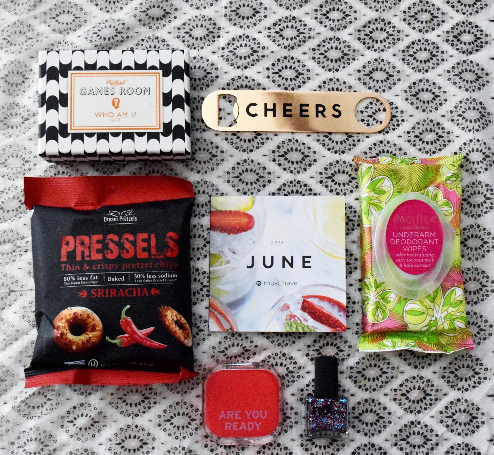 subscription box, june box, popsugar, must haves, popsugar june box, popsugar subscription box, popsugar must haves, popsugar june must haves, 4th of july nail polish, summer scarf, pretzels, cheers, underarm wipes, who am i