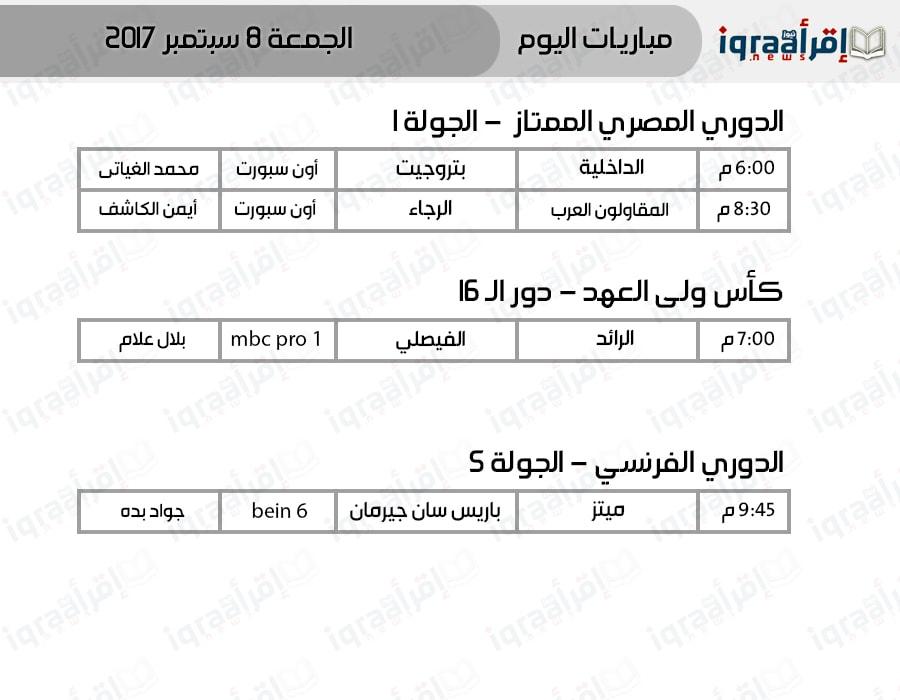 موعد أهم مباريات اليوم الجمعة 8-9-2017 فى الدوري المصري والفرنسي