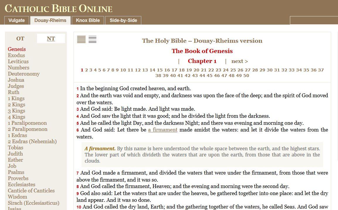 RORATE CÆLI: Catholic Bible Online: The Douay-Rheims, Knox