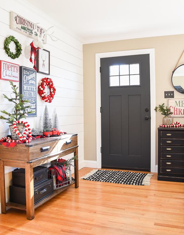 Classic Christmas home tour, Christmas decor, Christmas, entryway, gallery wall