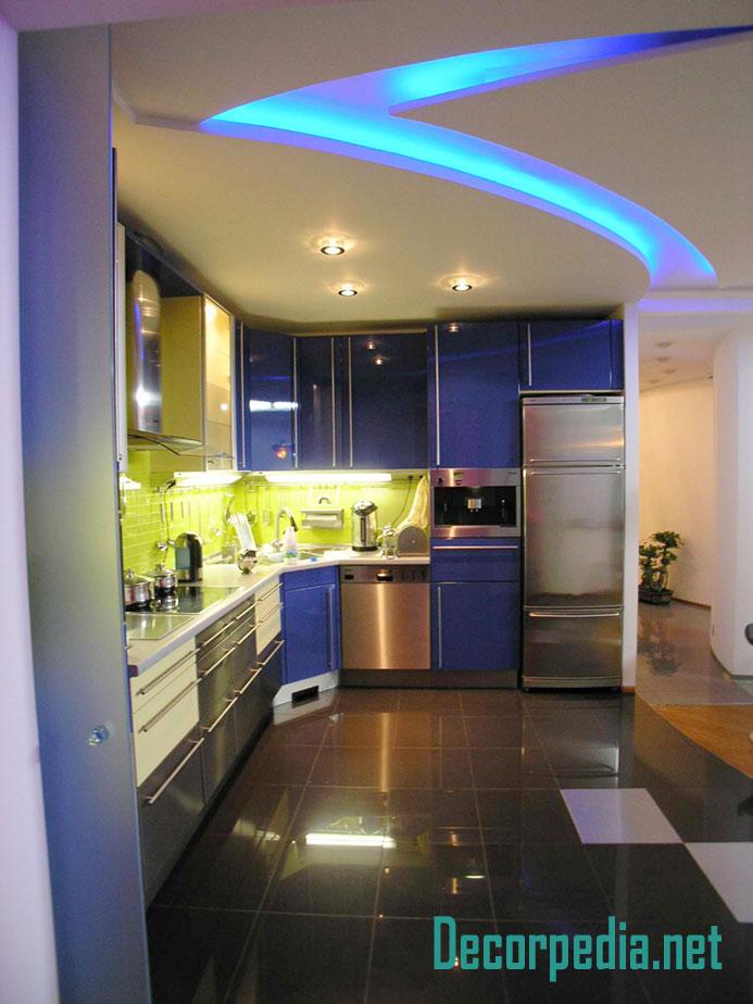 Kitchen Pop Design False Ceiling For With Led Lights