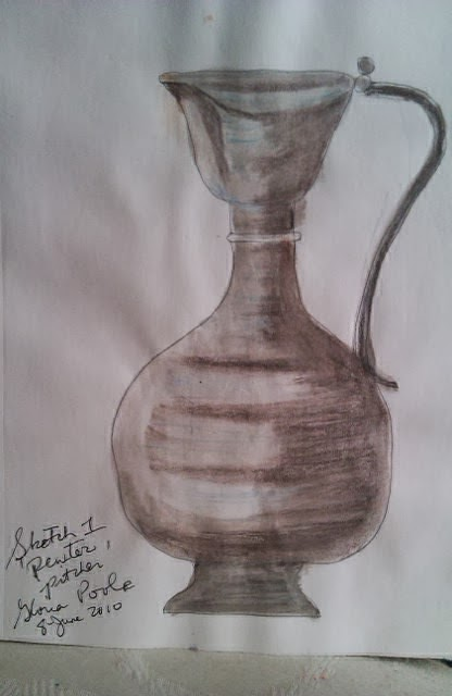 Pewter-pitcher-sketch by Gloria Poole,