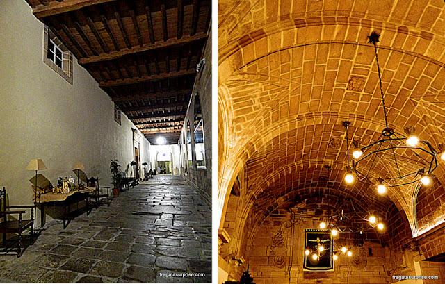 Detalhes do edifício histórico onde está instalada a Hospedaria San Martín Pinário, em Santiago de Compostela