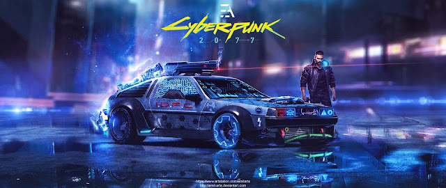 Cyberpunk 2077 Delorean DMC -12 by Emil Arts