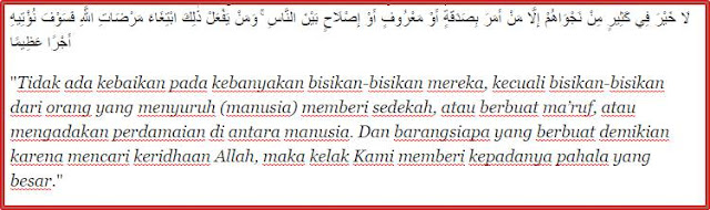 An Nissa Ayat 114 ,tentang sedekah