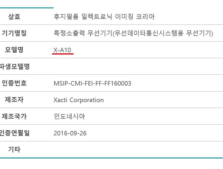 Камера Fujifilm X-A10 зарегистрирована в Южной Корее
