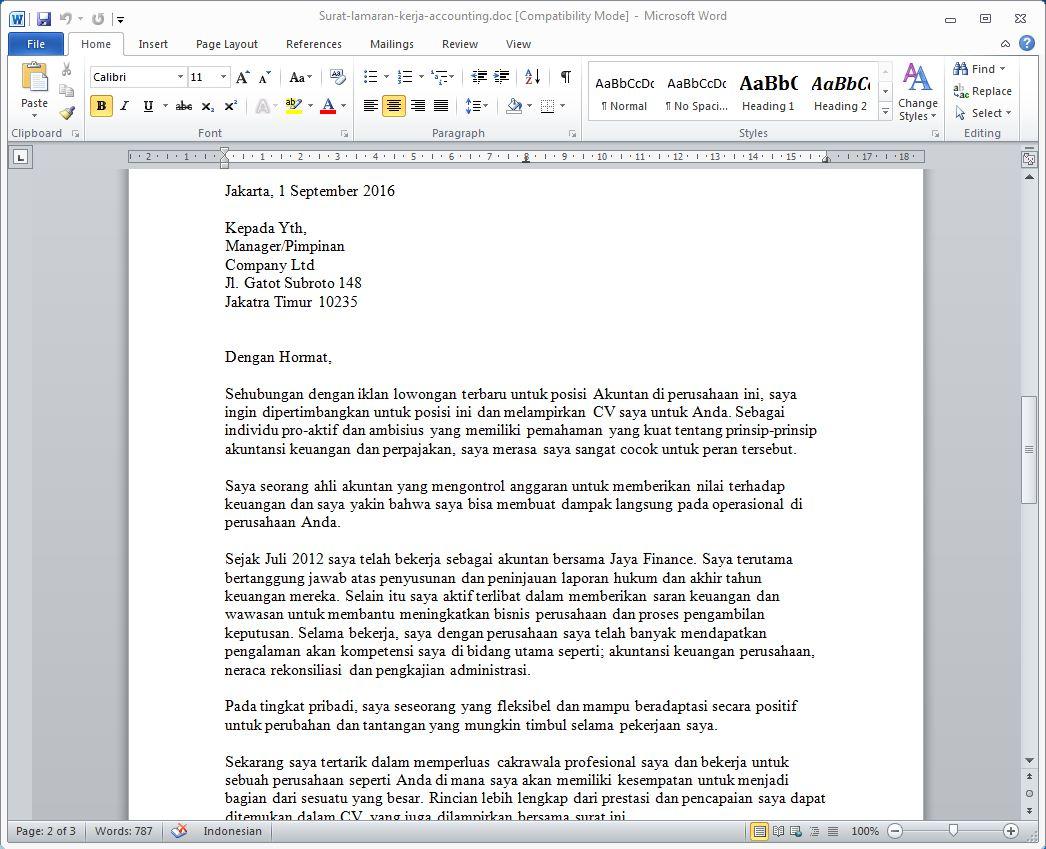 3 Contoh Surat Lamaran Kerja Bidang Akuntansi