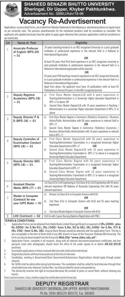Re Advertisement of Shaheed Benzir Butto University Sheringal, Dir Upper KPK Feb 2018 Jobs
