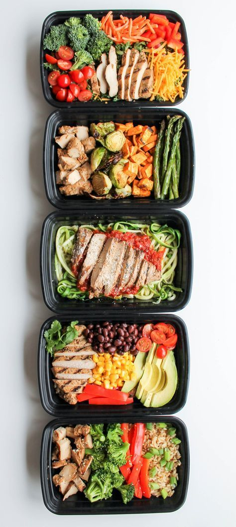 EASY CHICKEN MEAL PREP BOWLS: 5 WAYS #chicken #meal #chickenrecipes #healthyrecipes #healthyfood
