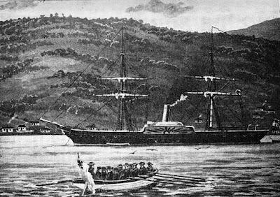 """Corveta de guerra """"Driver"""", irmã da """"Geyser"""". James Cowan - """"The New Zealand Wars""""."""