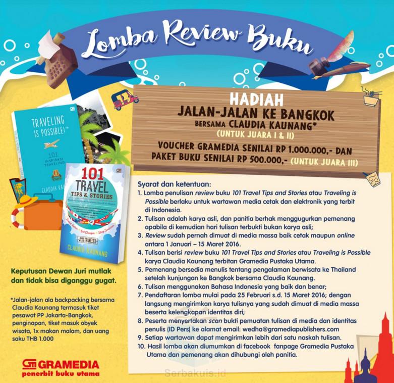 Lomba Review Buku Claudia Kaunang Berhadiah Trip ke Bangkok, Thailand